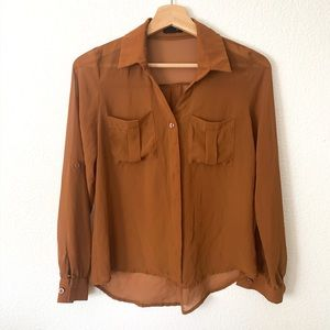 🛍Mine sheer brown button down-S